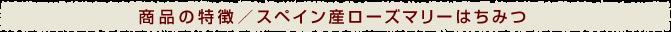 商品の特徴/スペイン産ローズマリーはちみつ